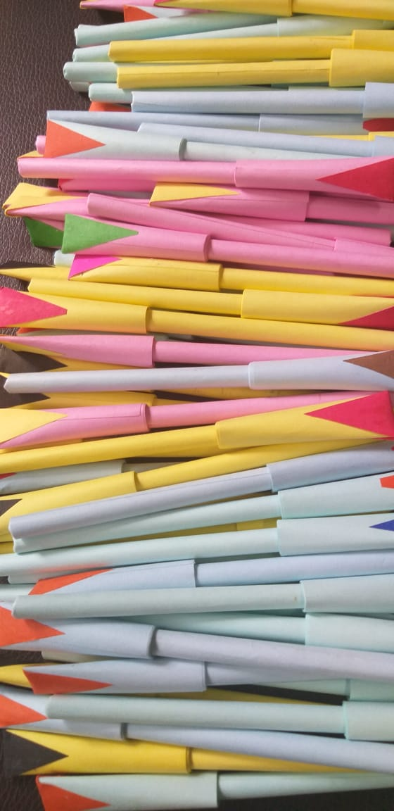 Paper pens made by differently abled children