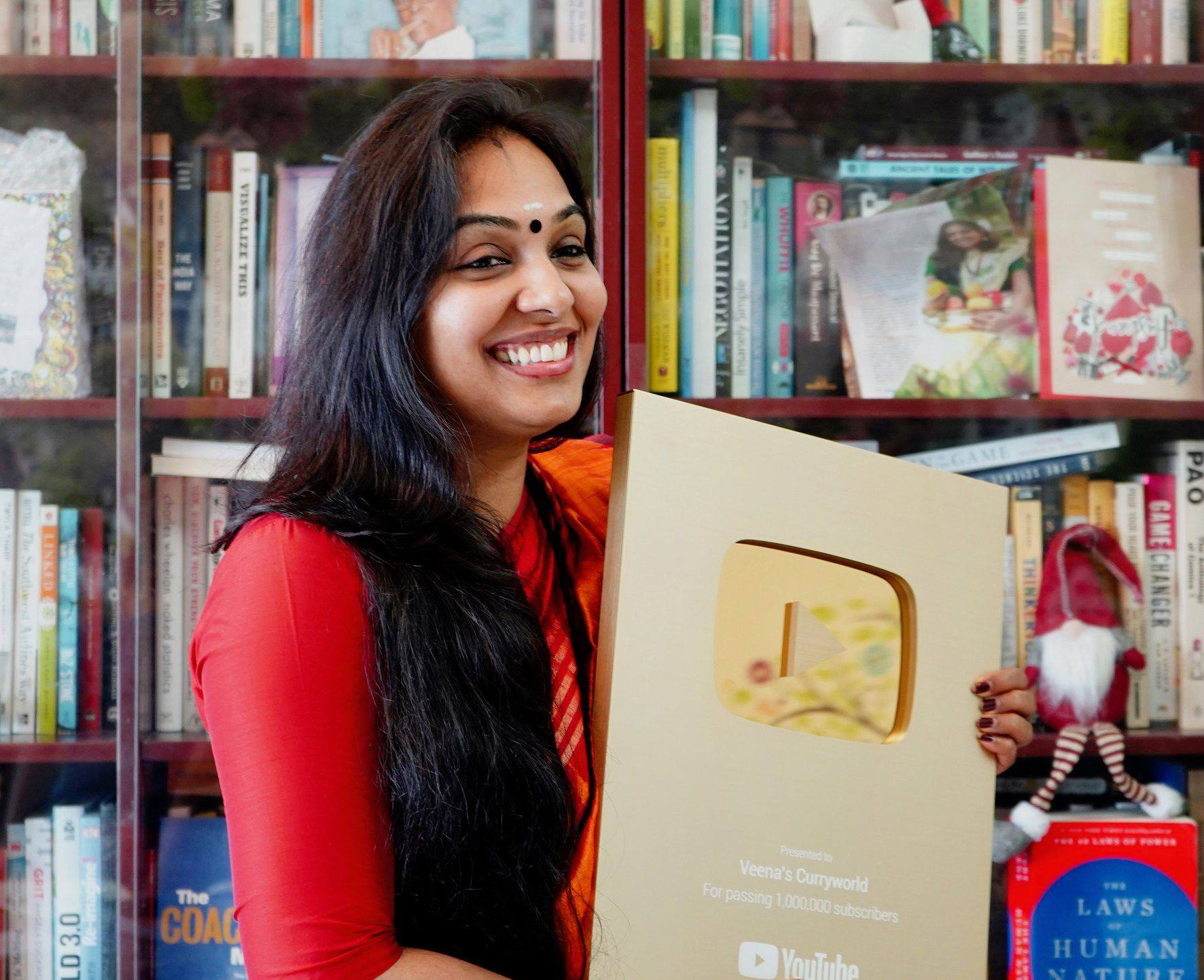 Popularity of Veena's Curry World fetched her the YouTube Golden Play Button, making her the first Malayalee woman to earn it.