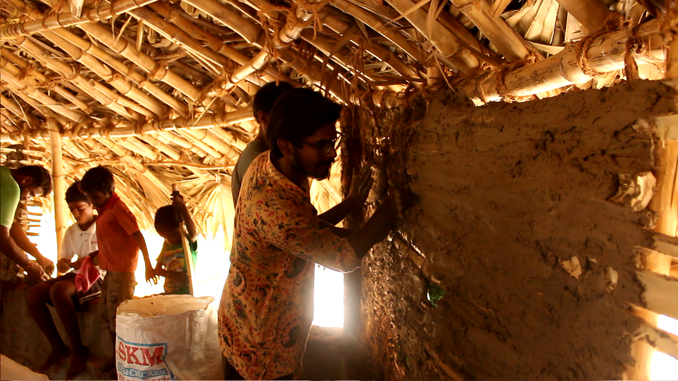 Aravind helping out during the construction of a structure he supervised in Kalpakkam